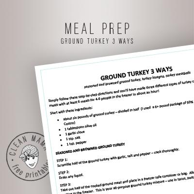 MEAL PREP. GROUND TURKEY 3 WAYS