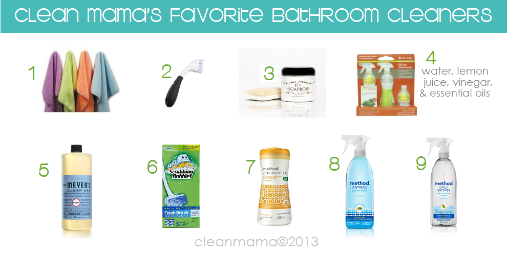 Daily cleaning tasks monday is bathrooms day clean mama for Best products to clean bathroom