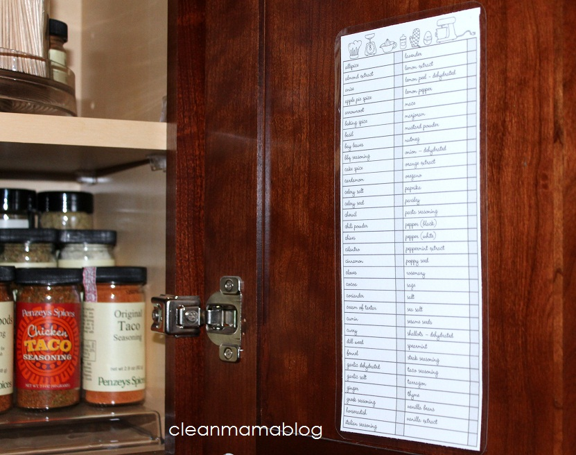 image relating to Spice List Printable called Kitchen area Thirty day period My Spice Storage + Absolutely free Spice Stock
