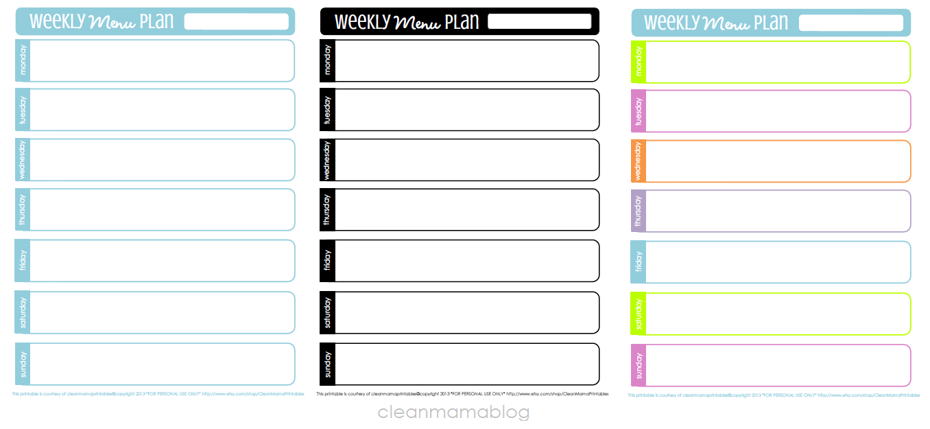 Kitchen month weekly menu planning free printables for Make a planner free