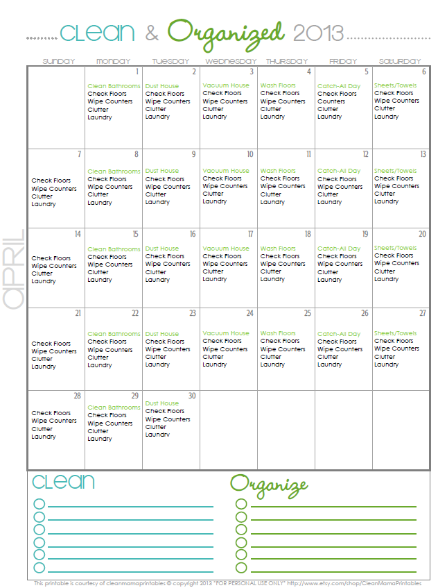 Clean + Organized 2013 – FREE April Cleaning Calendar