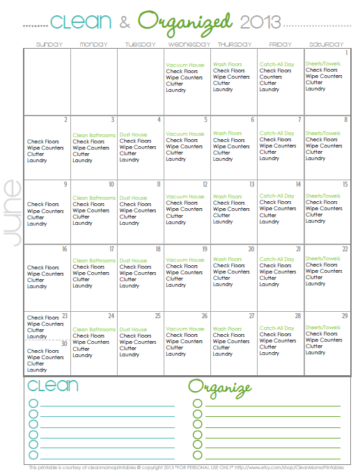Calendar June 2013 : Clean organized free june cleaning calendar