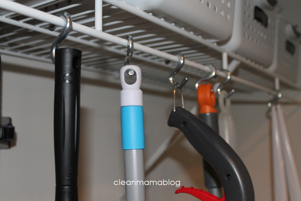 use 's' hooks to hang tools - Clean Mama