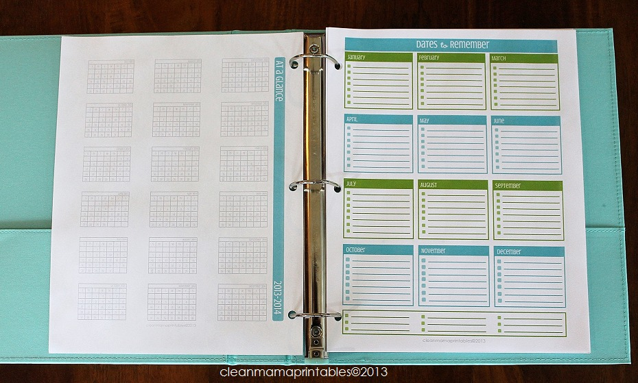 At A Glance + Dates to Remember - Clean Mama
