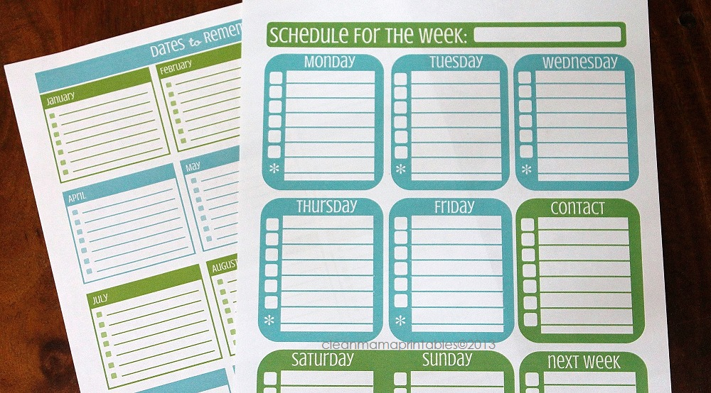Dates to Remember + Schedule for the Week - Clean Mama