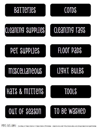 Mudroom Labels - Clean Mama