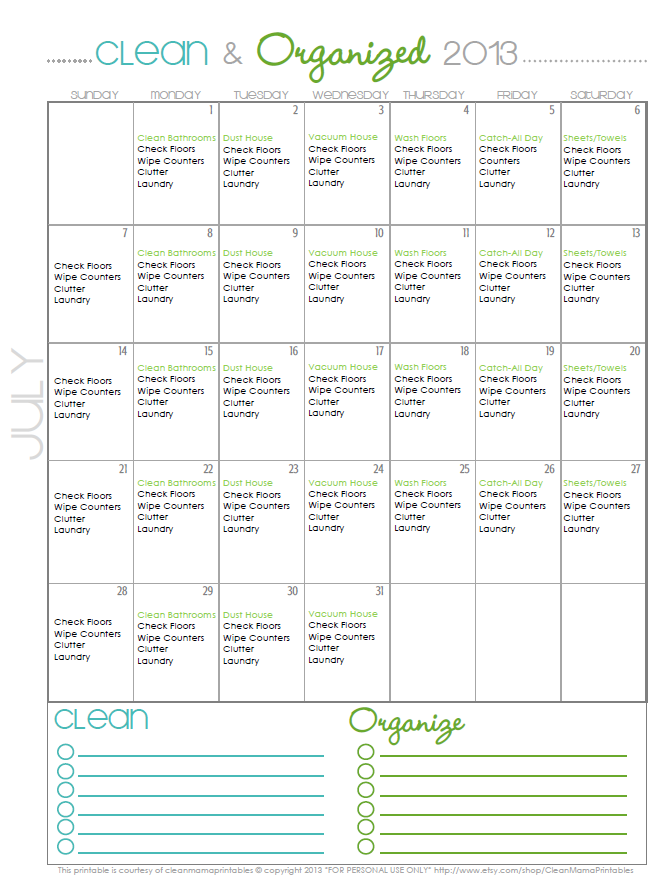 clean+organized july calendar pic
