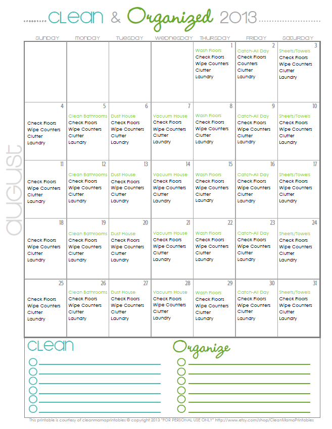 Clean + Organized Cleaning Calendar August 2013 - Clean Mama