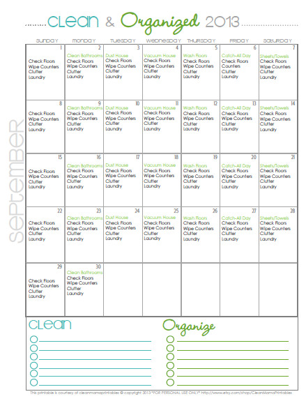 Clean + Organized 2013 - Cleaning Schedule for September 2013 via Clean Mama