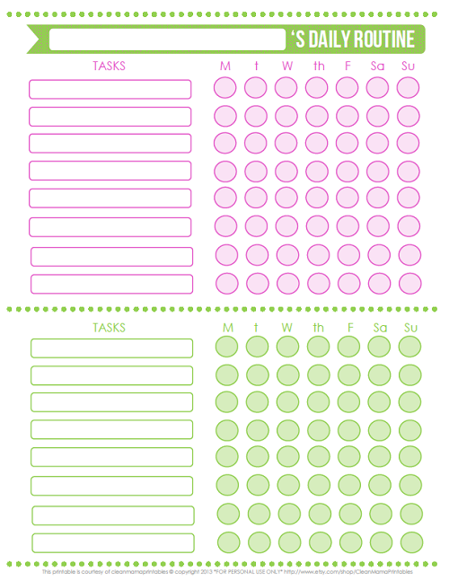 FREE Printable Kids' Daily Routine Checklists | A Bowl ...