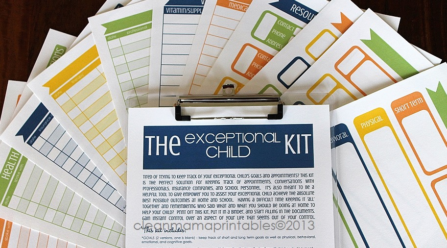 The Exceptional Child Kit - clean mama printables