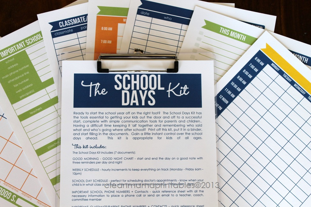 school days kit - clean mama printables