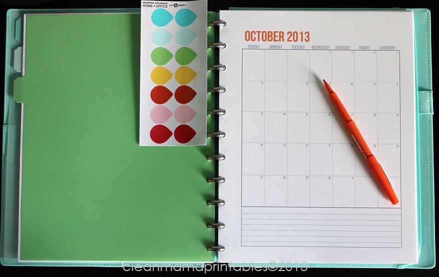 15 Month Calendar - October - Clean Mama