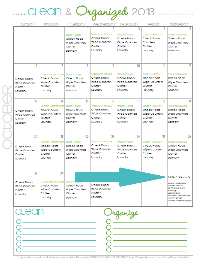 Clean + Organized 2013 - FREE Cleaning Schedule for October with Deep Cleaning Suggestions - courtesy of Clean Mama