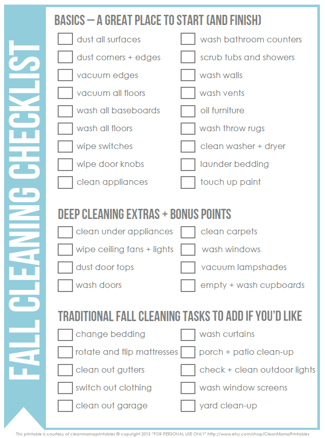 Free fall cleaning checklist clean mama for Fall yard clean up checklist