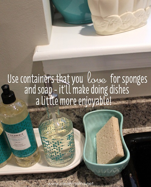 Use Containers That You Love for Sponges + Soap - Clean Mama