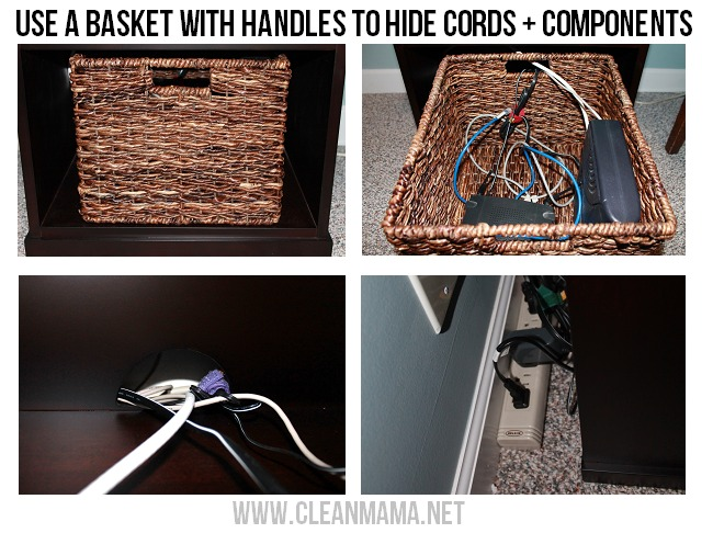 Use a basket with handles to hide cords and components via Clean Mama