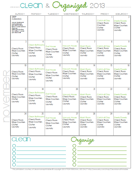 Clean Mama's November Cleaning Calendar via Clean Mama