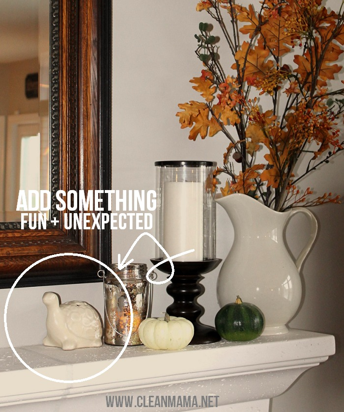 Simple Fall Mantel - add something fun and unexpected via Clean Mama