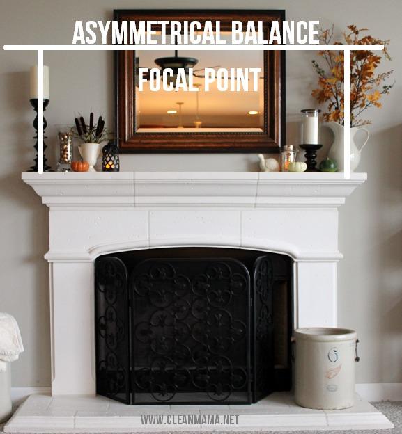 Simple Fall Mantel - asymmetrical balance - via Clean Mama