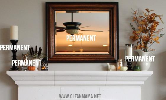 Simple Fall Mantel - permanent items - via Clean Mama