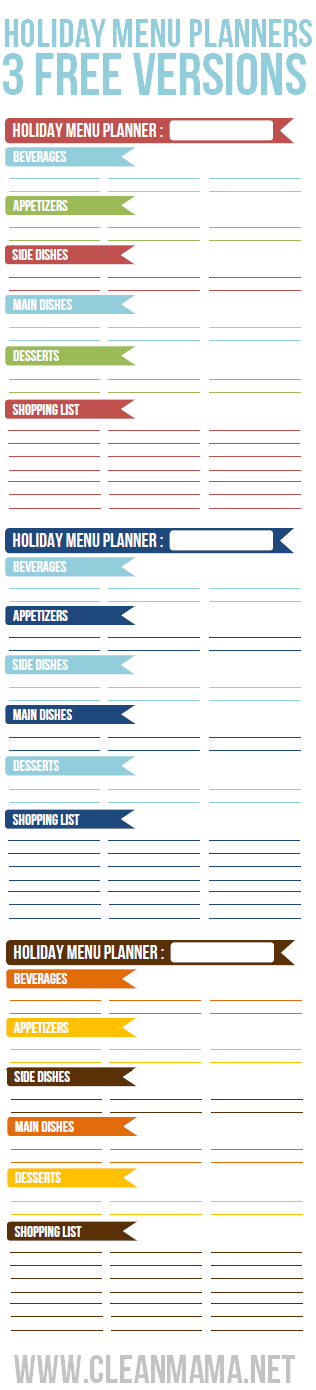 Holiday Menu Planners - 3 Free Versions via Clean Mama