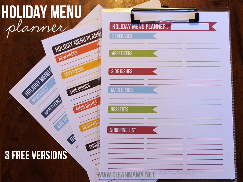 Holiday Menu Planners via Clean Mama