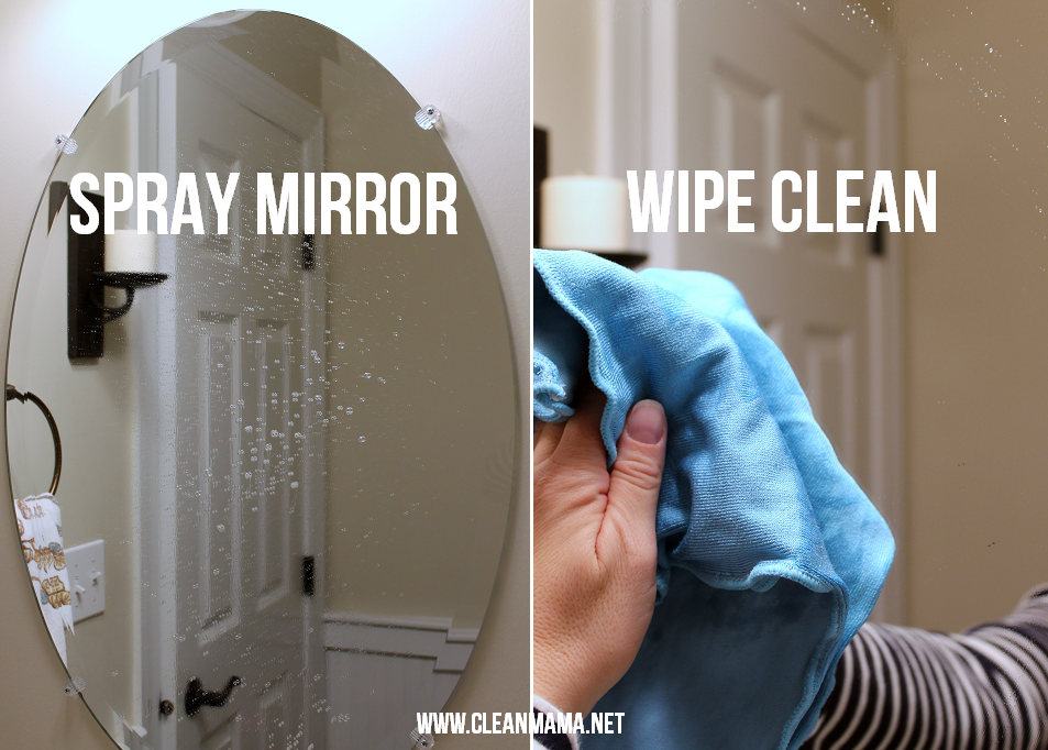 Step One Spray Mirror and Wipe Clean via Clean Mama