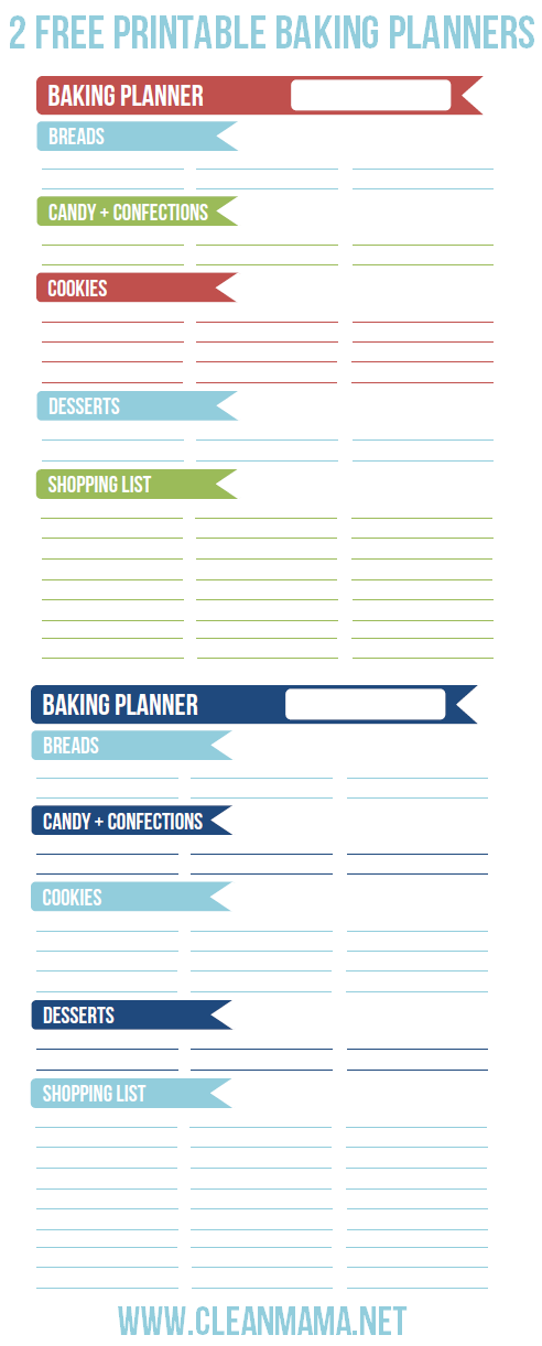 2 Free Printable Baking Planners via Clean Mama