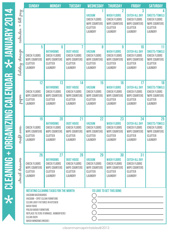 Cleaning + Organizing Calendar January 2014 via Clean Mama