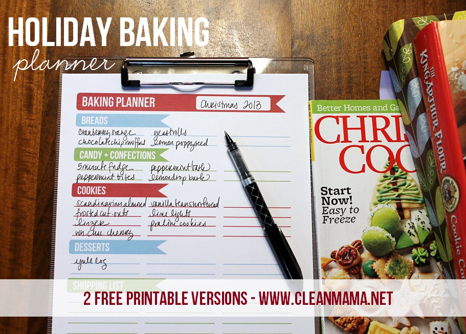 Holiday Baking Planner - 2 free versions via clean mama