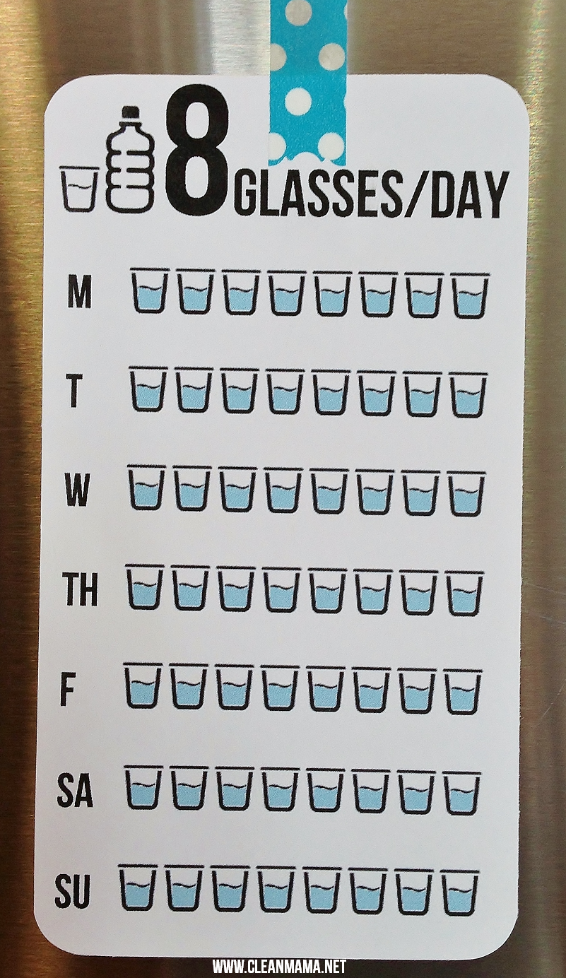 8 Glasses a Day FREE printable via Clean Mama
