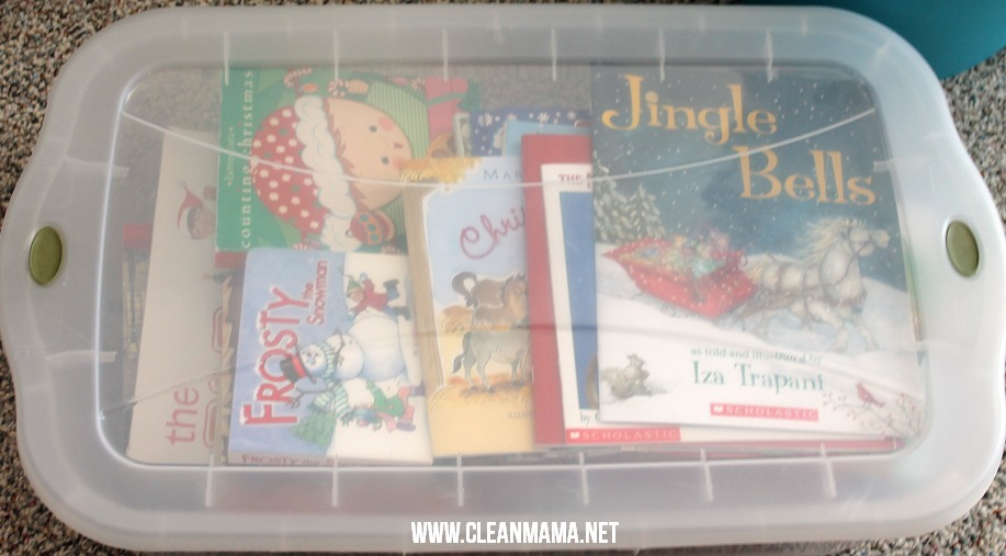 Box up the Christmas Books via Clean Mama