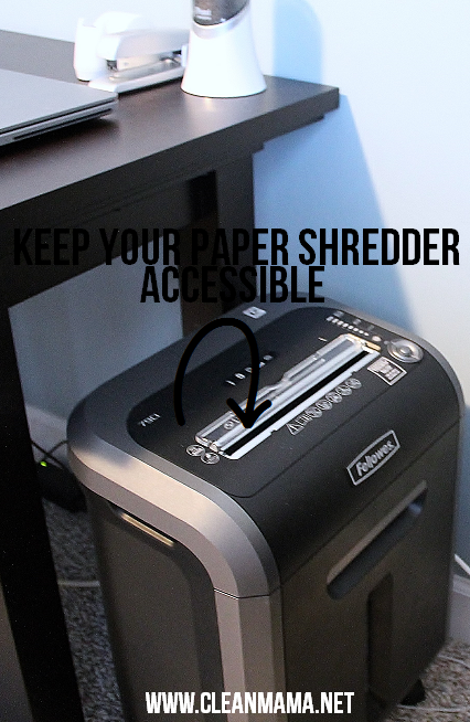Keep Your Paper Shredder Accessible via Clean Mama