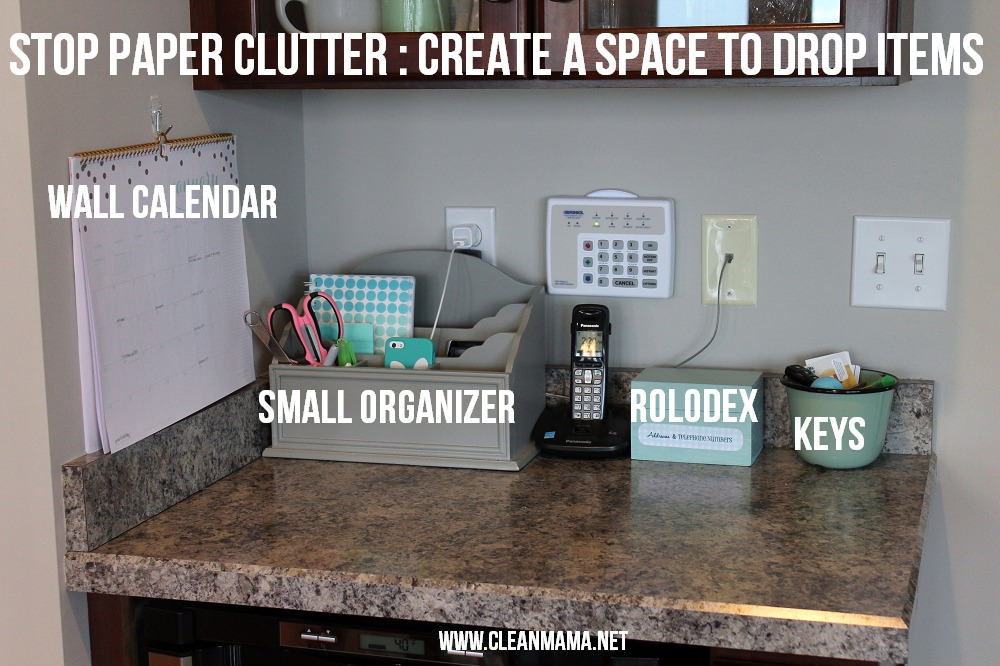 Stop Paper Clutter - Create a Space to Drop Items via Clean Mama
