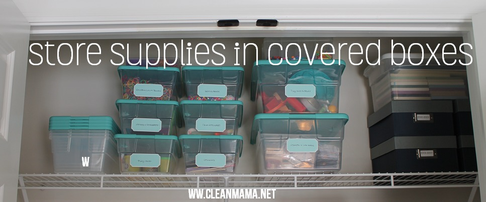 Store Supplies in Covered Boxes via Clean Mama