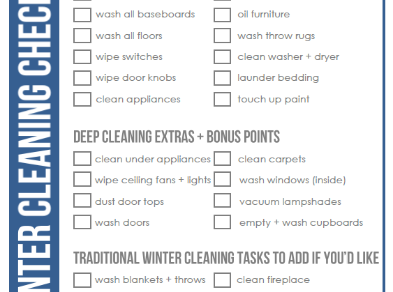 Winter Cleaning Checklist Clean Mama – Cleaning Checklist