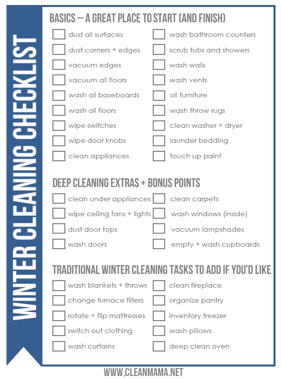 FREE Winter Cleaning Checklist - Clean Mama