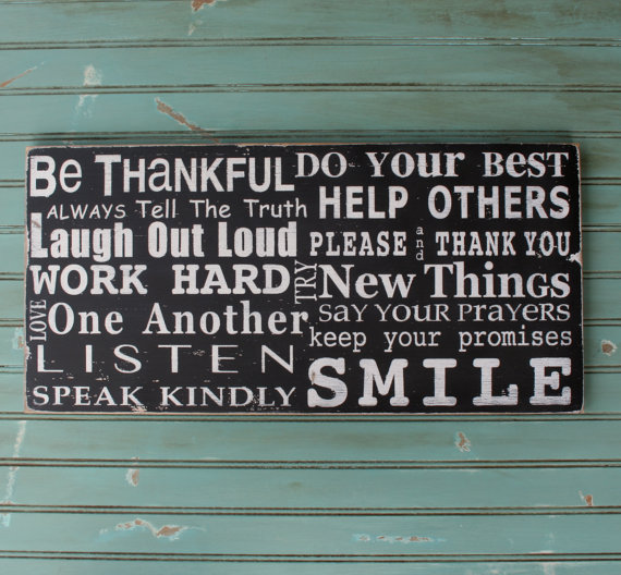 New Family Rules - Be Thankful - Barn Owl Primitives