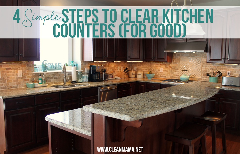 simple steps to clear kitchen counters for good via clean mama