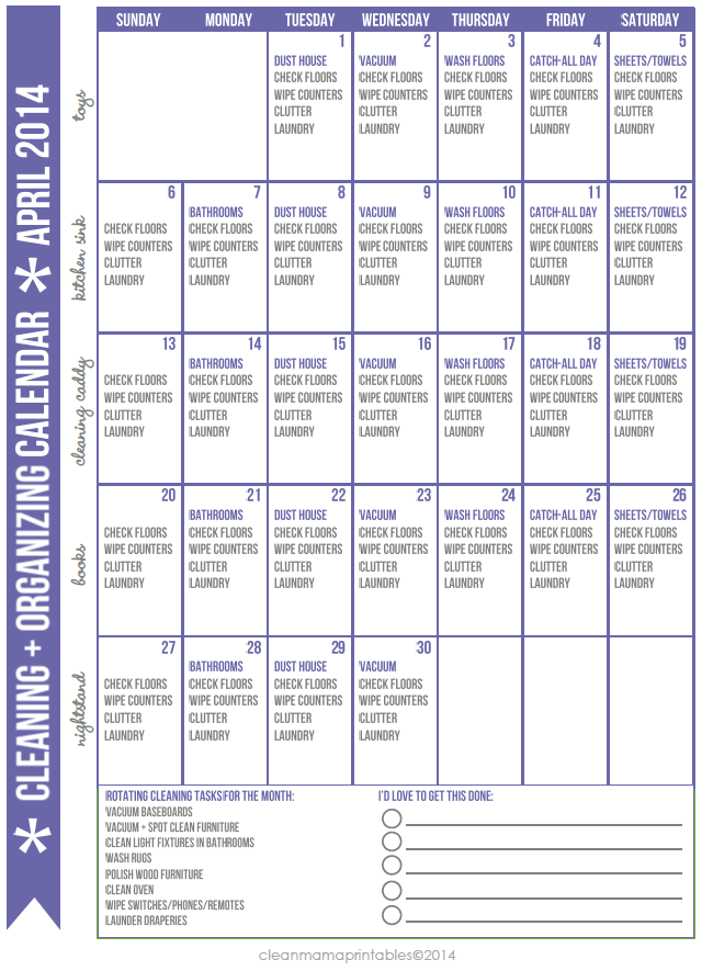 FREE Cleaning + Organizing Calendar for April via Clean Mama