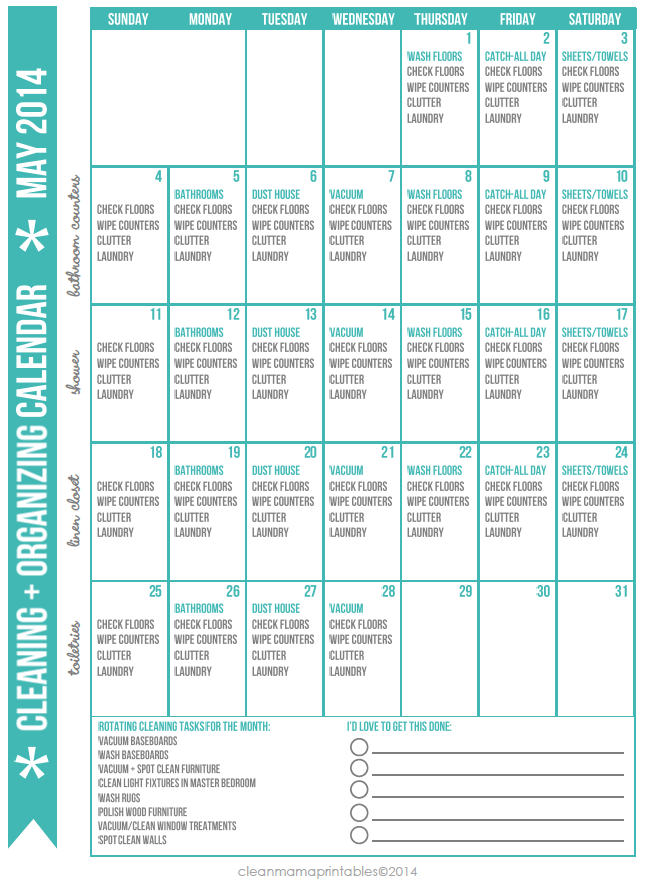 FREE Cleaning + Organizing Calendar for May 2014 via Clean Mama