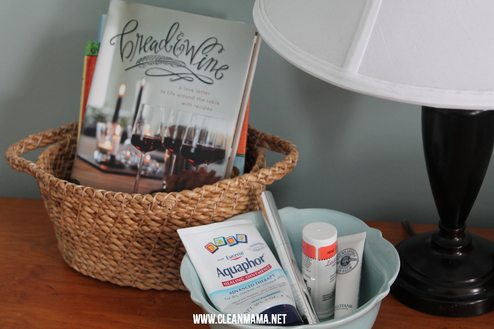 Keep Books in a Basket and Small Personal Items in a Cute Dish via Clean Mama