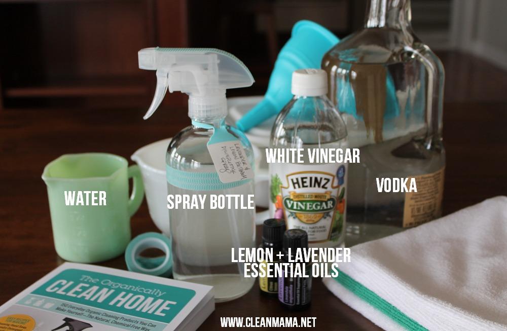 Lavender and Lemon Bathroom Disinfecting Spray Ingredients via Clean Mama