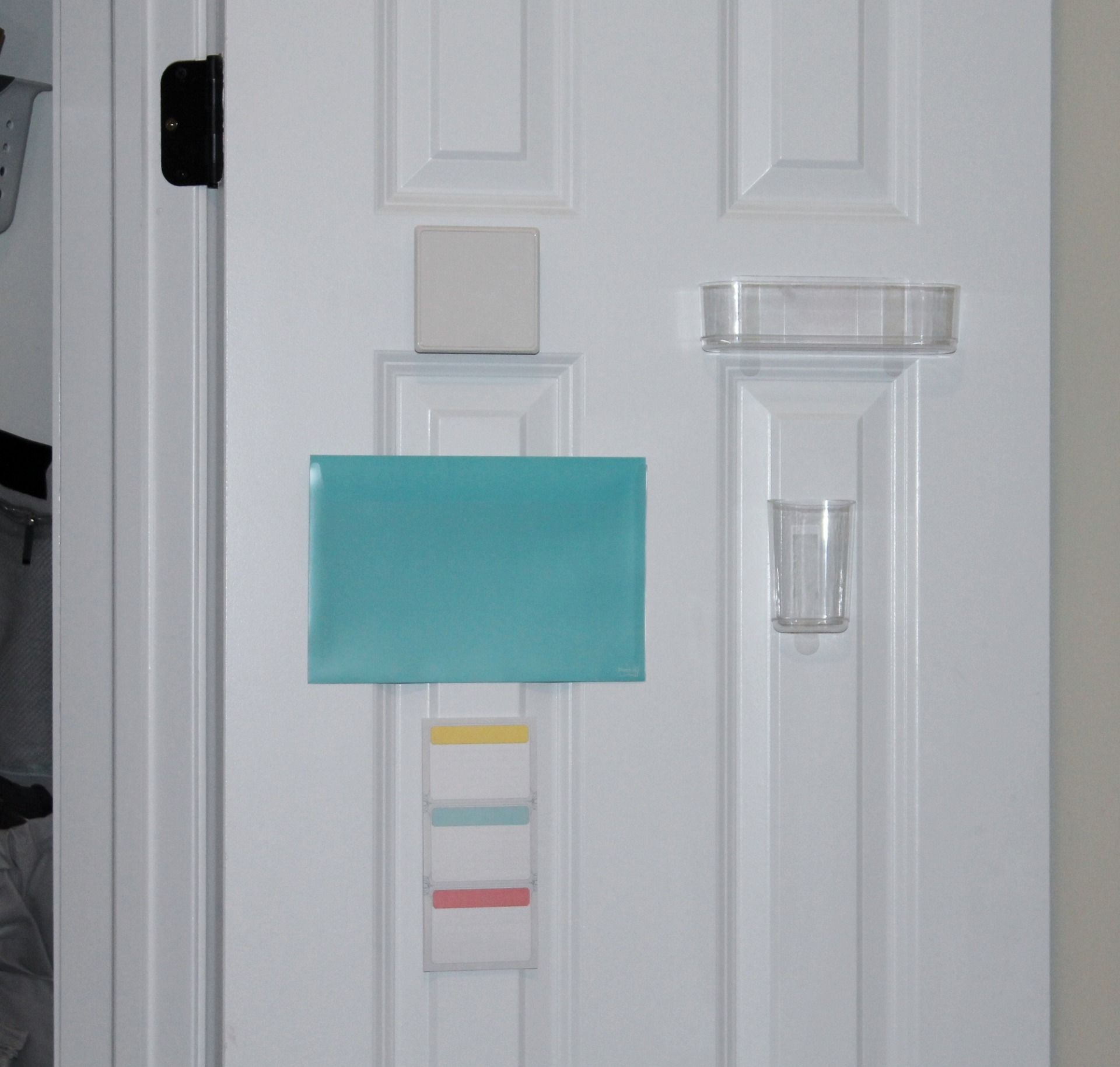 Organized Cleaning Closet with Post-It via Clean Mama