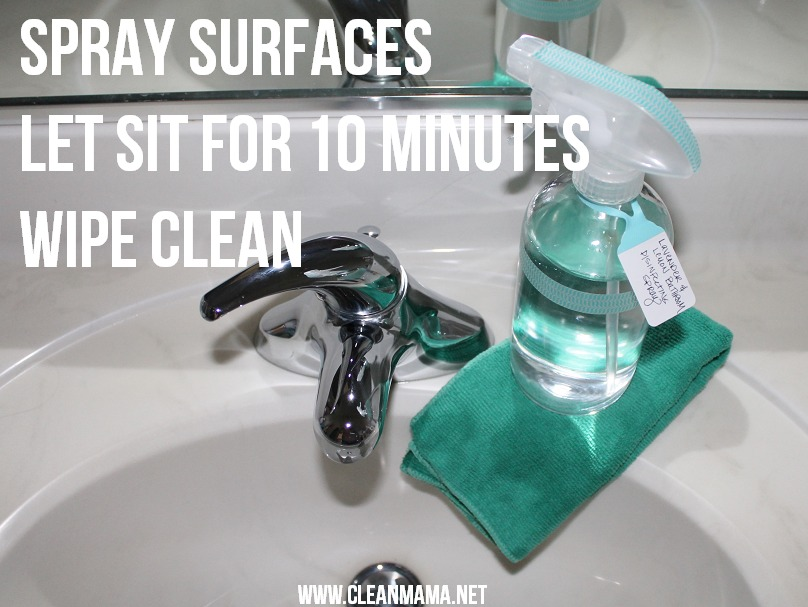 Spray Surfaces, Let sit for 10 minutes, Wipe Clean via Clean Mama