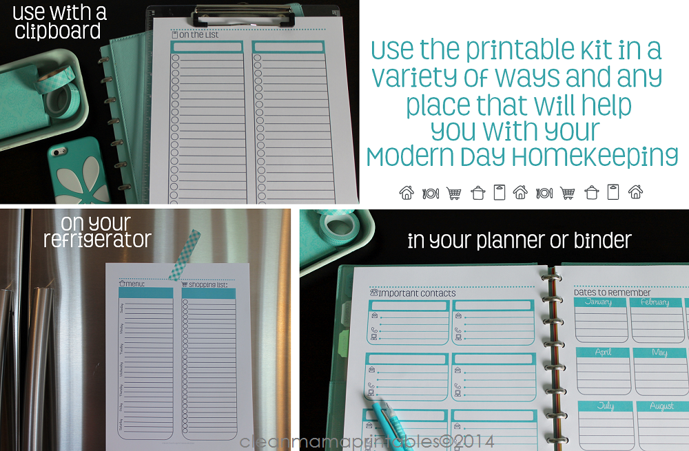 Use the printable kit in a variety of ways and any place that will help your modern day homekeeping via Clean Mama