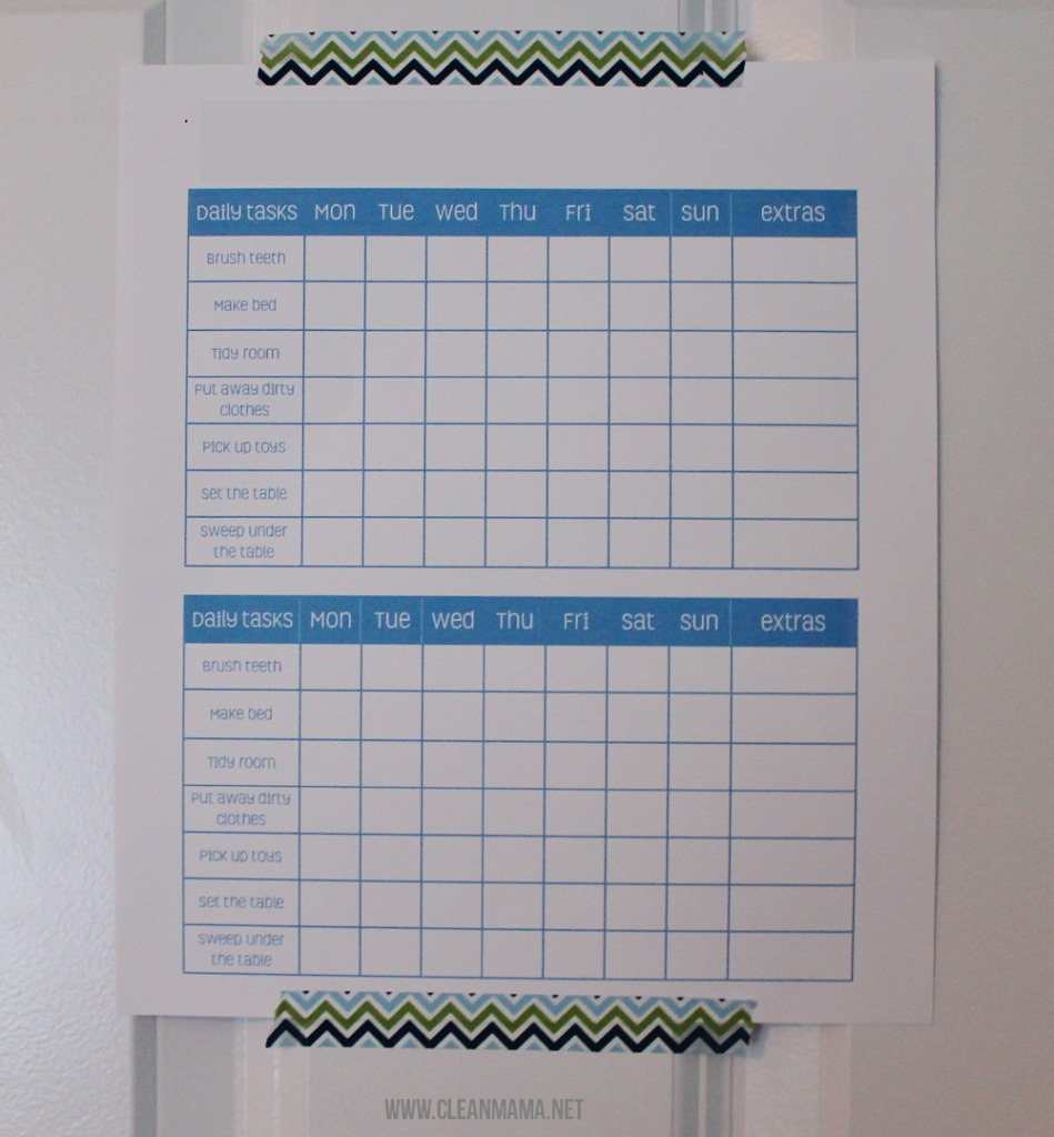 Daily Tasks on the Back of a Bedroom Door via Clean Mama