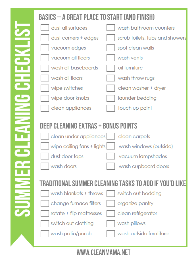 FREE Summer Cleaning Checklist - Clean Mama