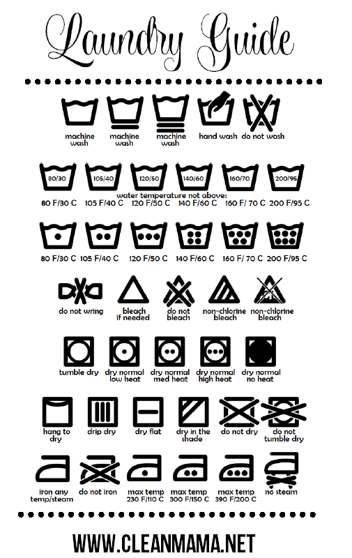 Free Printable Laundry Guide via Clean Mama